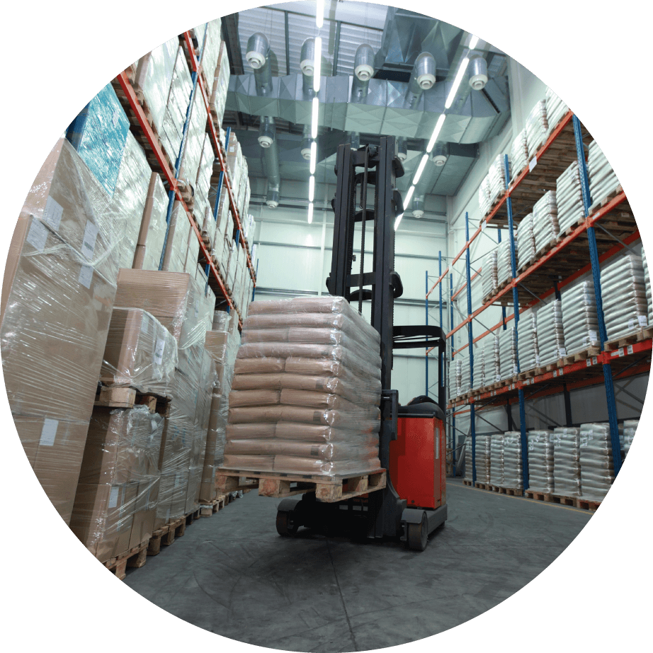 forklift loader in distribution warehouse
